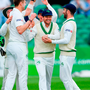 FIGHTING SPIRIT: Ireland's Ed Joyce celebrates with teammates after catching out Haris Sohail off a Boyd Rankin (centre) delivery at Malahide yesterday. Photo: Sportsfile