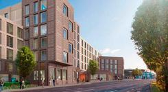 An artist's impression of the student accommodation proposed by Cairn Homes for the Blakes and Esmonde Motors sites in Stillorgan