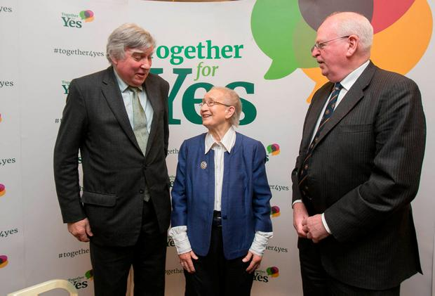 Former attorneys general John Rogers and Michael McDowell with former Supreme Court judge Ms Justice Catherine McGuinness at a 'Yes' briefing yesterday