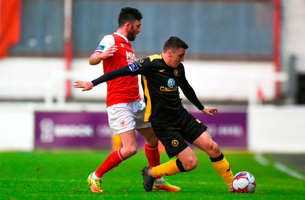 Adam Morgan of Sligo in action against Killian Brennan of St Patrick's Athletic. Photo: David Fitzgerald/Sportsfile
