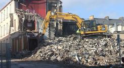 Waterfront Bar and Restaurant being demolished after the blaze ripped through the building Photo: Inishowen News