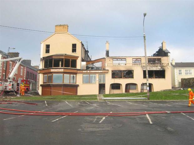 Waterfront Bar and Restaurant after the blaze Photo: Inishowen News