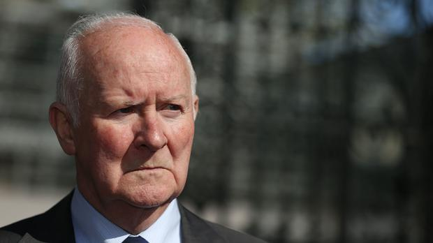 Liam Shannon, one of the so-called Hooded Men, outside Leinster House (Brian Lawless/PA)