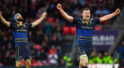 12 May 2018; James Ryan of Leinster, right and Scott Fardy celebrate at the final whistle of the European Rugby Champions Cup Final match between Leinster and Racing 92 at the San Mames Stadium in Bilbao, Spain. Photo by Brendan Moran/Sportsfile