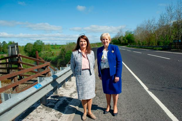 Swedish Minister for EU Affairs and Trade Anne Linde with Minister for Business, Enterprise, and Innovation Heather Humphreys at the border at Moybridge between Co Monaghan and Co Tyrone. Photo: Rory Geary
