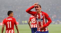 Soccer Football - Europa League Final - Olympique de Marseille vs Atletico Madrid - Groupama Stadium, Lyon, France - May 16, 2018 Atletico Madrid's Antoine Griezmann celebrates scoring their second goal. REUTERS/Gonzalo Fuentes