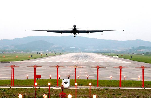 A US Air Force U-2 spy plane lands as South Korea and the United States conduct the 'Max Thunder' joint military exercise in South Korea yesterday. Photo: AP