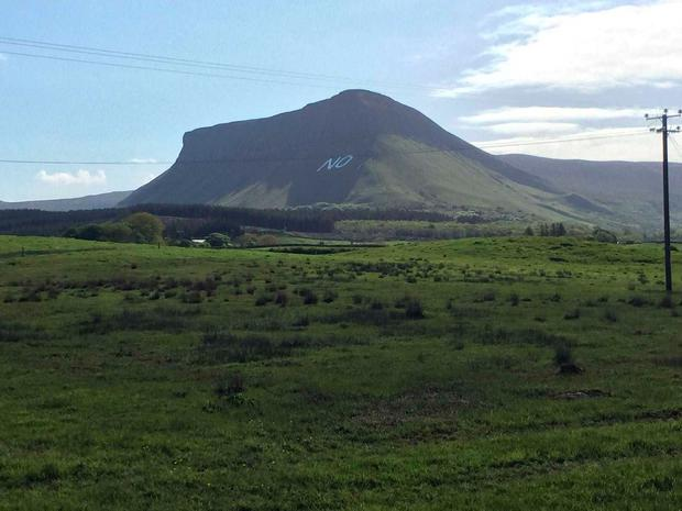 Pro-life campaigners in Sligo have constructed a giant 'No' slogan on Ben Bulben mountain (Photo: Independent.ie)