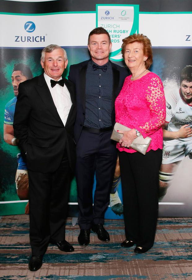 NO REPRO FEE. 2018 .Brian O'Driscoll with parents Frank and Geraldine O'Driscoll at Zurich Rugby Players Ireland Player's Awards in Clayton Hotel, Ballsbridge, Dublin.Photo: Leon Farrell/Photocall Ireland.