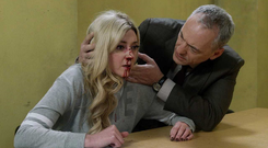Kerri-Ann is left bloodied after the violent attack by Aoife. Fair City