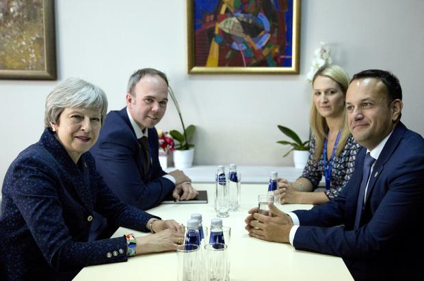 Taoiseach Leo Varadkar, right, meets with British Prime Minister Theresa May, left, on the sidelines of an EU and Western Balkan heads of state summit at the National Palace of Culture in Sofia, Bulgaria, Thursday, May 17, 2018. (AP Photo/ Virginia Mayo)