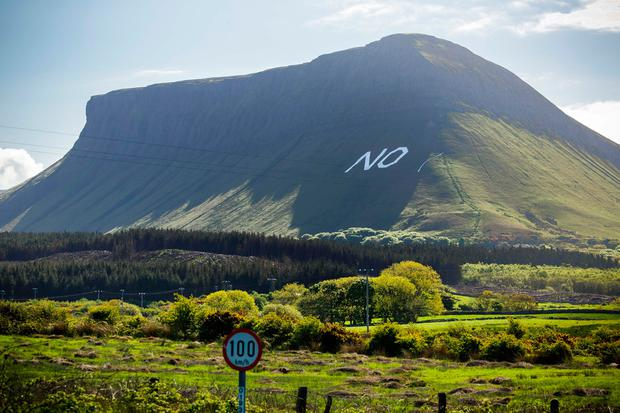 The sign on the side of Ben Bulben in Co Sligo. Photo: James Connolly