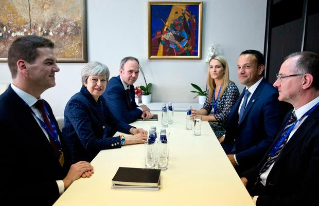 Taoiseach Leo Varadkar, second right, meets with British Prime Minister Theresa May, second left, on the sidelines of an EU and Western Balkan heads of state summit at the National Palace of Culture in Sofia, Bulgaria. (AP Photo/ Virginia Mayo)