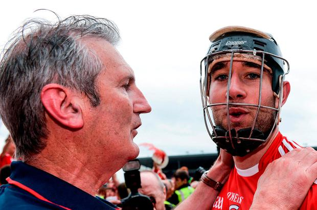Kieran Kingston celebrating last year's Munster SHC win with Mark Ellis. Photo: Piaras Ó Mídheach/Sportsfile