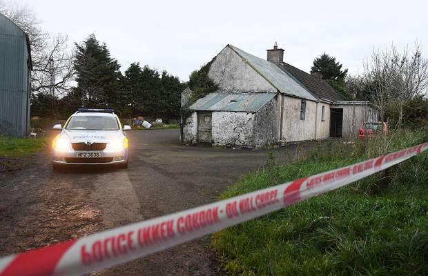 Police at the scene of a suspicious death on the Townhill Road near Rasharkin, County Antrim