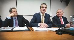 IFA President Joe Healy, flanked by General Secretary Damian McDonald and IFA Deputy President Richard Kennedy, pictured addressing the 63rd Annual General Meeting of the Irish Farmers Association in Dublin.