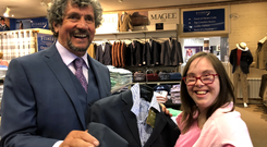 Charlie Bird gets some help choosing his suit for the big event.