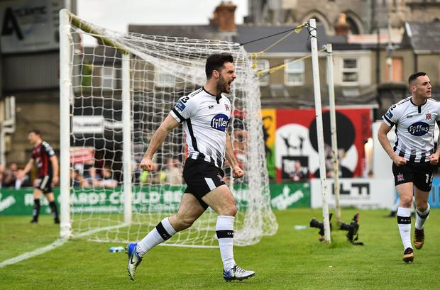 18 May 2018; Patrick Hoban of Dundalk celebrates after scoring his side's first goal during the SSE Airtricity League Premier Division match between Bohemians and Dundalk at Dalymount Park in Dublin. Photo by Sam Barnes/Sportsfile