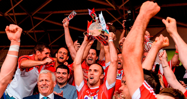 Stephen McDonnell is surrounded by Cork supporters as he lifts the Munster SHC trophy after last year's final victory over Clare – the absence of the knockout element this year has already fuelled much debate. Photo: Piaras Ó Mídheach/Sportsfile