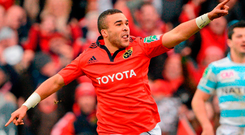 Simon Zebo celebrates his 'favourite try' against Racing in 2013. Photo: Brendan Moran/Sportsfile