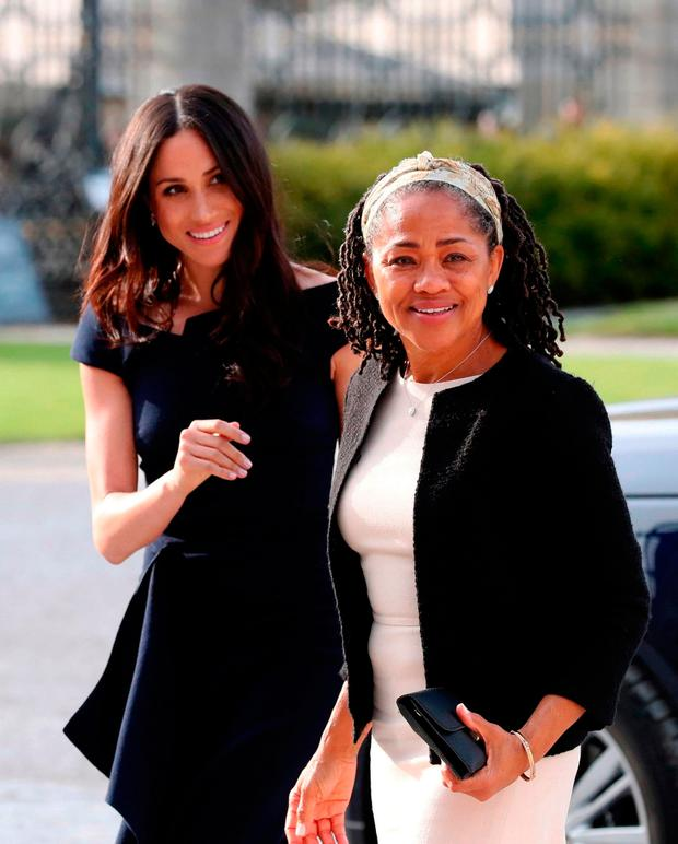 Meghan Markle arrives with her mother, Doria Ragland, to have tea with the queen