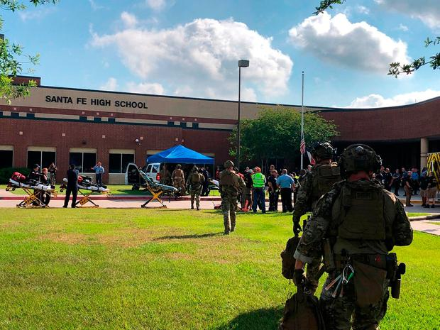 Police at Santa Fe High School after the shooting. Photo: AP, Reuters