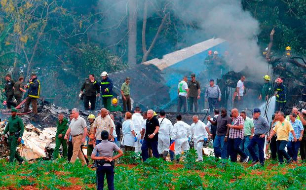 Cuban President Miguel Diaz-Canel arrives at the site of the accident. Photo: Getty Images