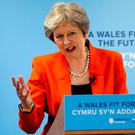 British Prime Minister Theresa May speaks during the Welsh Conservative Party Conference in Kidwelly, South Wales, yesterday. Photo: Reuters/Andrew Yates