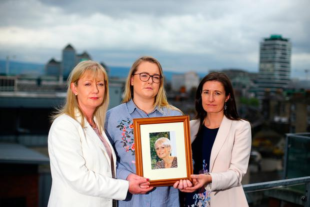 From left, Danielle Miley, Rachael O'Brien and Susan O'Brien have grave concerns over Miriam's care. Photo: Mark Condren