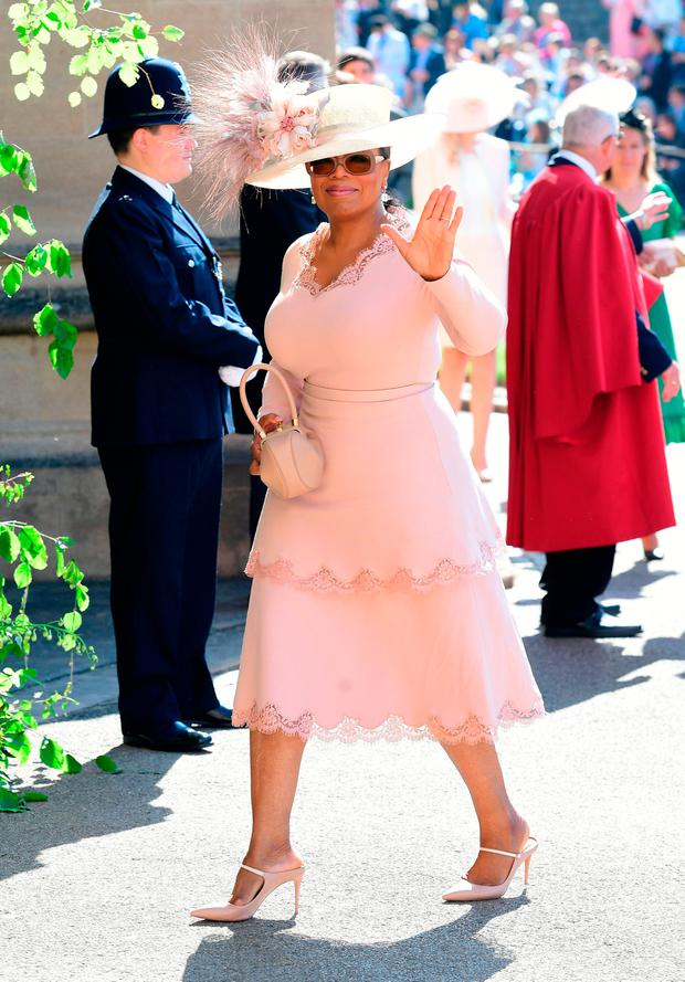 Oprah Winfrey arrives at St George's Chapel at Windsor Castle for the wedding of Meghan Markle and Prince Harry. PRESS ASSOCIATION Photo. Picture date: Saturday May 19, 2018. See PA story ROYAL Wedding. Photo credit should read: Ian West/PA Wire
