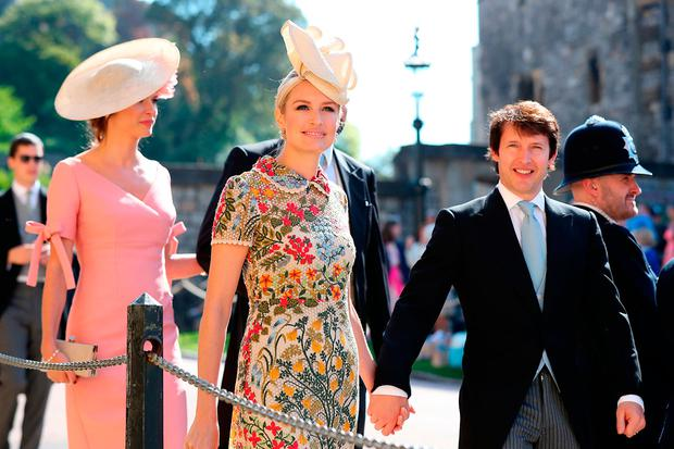 James Blunt (right) and Sofia Wellesley arrive at St George's Chapel at Windsor Castle for the wedding of Meghan Markle and Prince Harry. PRESS ASSOCIATION Photo. Picture date: Saturday May 19, 2018. See PA story ROYAL Wedding. Photo credit should read: Gareth Fuller/PA Wire