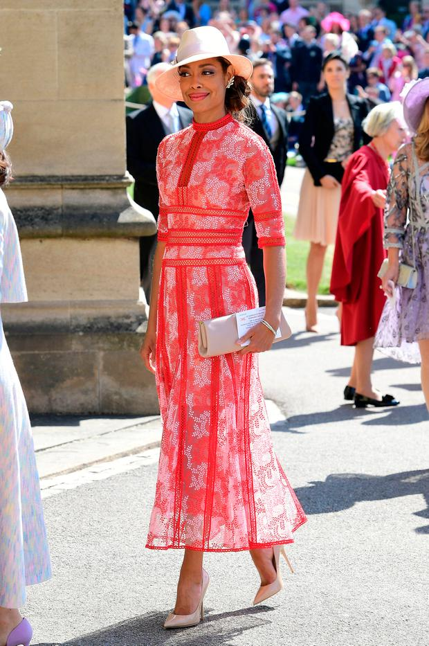 Gina Torres arrives at St George's Chapel at Windsor Castle for the wedding of Meghan Markle and Prince Harry in Windsor, Britain, May 19, 2018. Ian West/Pool via REUTERS