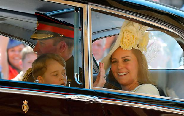 The Duke and Duchess of Cambridge and Prince George leave St George's  Chapel at Windsor Castle