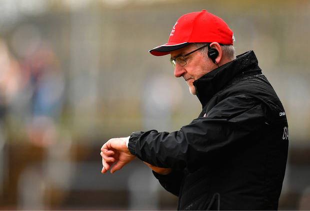 25 March 2018; Tyrone manager Mickey Harte during the Allianz Football League Division 1 Round 7 match between Tyrone and Kerry at Healy Park in Omagh, Tyrone. Photo by Brendan Moran/Sportsfile