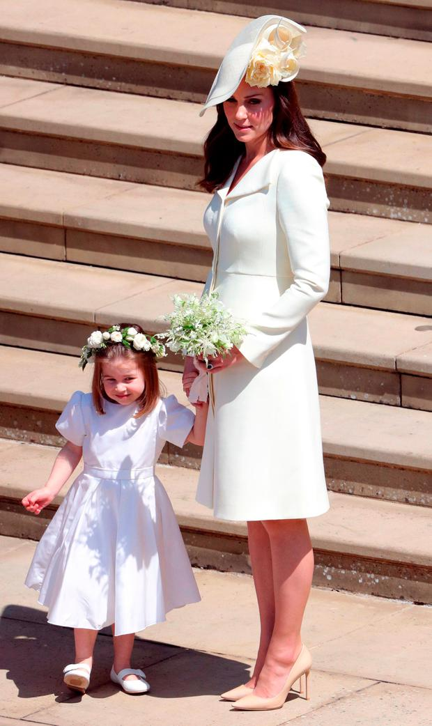 Duchess of Cambridge and Princess Charlotte after the wedding of Prince  Harry and Meghan Markle at
