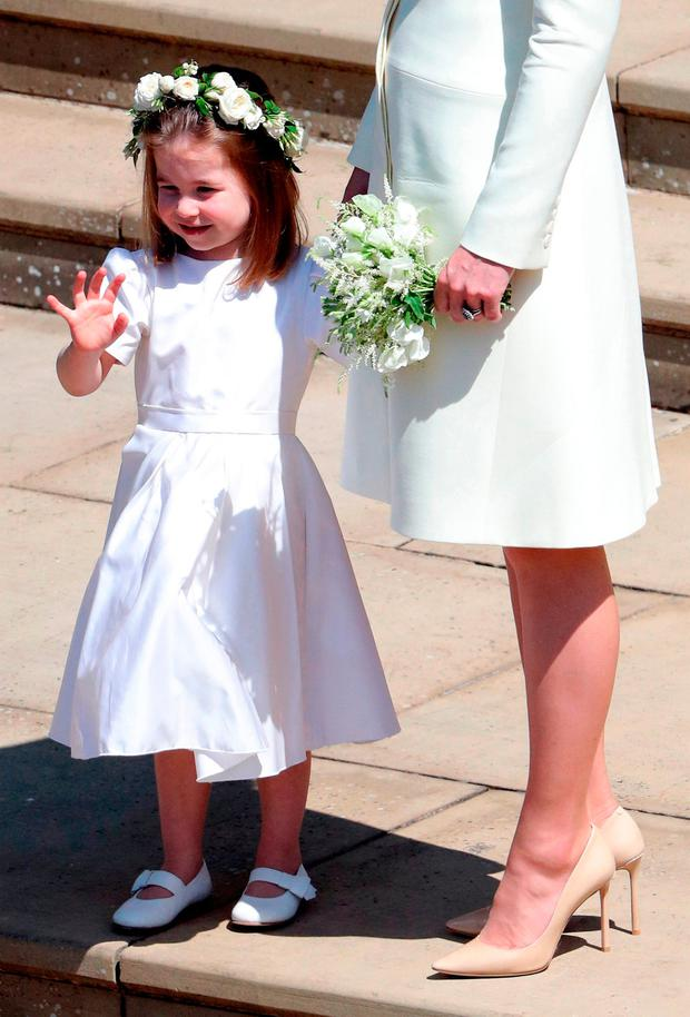 Princess Charlotte after the wedding of Prince Harry and Meghan Markle at Windsor Castle. PRESS ASSOCIATION Photo. Picture date: Saturday May 19, 2018. See PA story ROYAL Wedding. Photo credit should read: Andrew Matthews/PA Wire