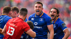 19 May 2018; Jack Conan, centre, and James Lowe of Leinster celebrate winning a scrum penalty during the Guinness PRO14 semi-final match between Leinster and Munster at the RDS Arena in Dublin. Photo by Brendan Moran/Sportsfile