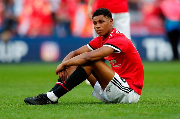 Soccer Football - FA Cup Final - Chelsea vs Manchester United - Wembley Stadium, London, Britain - May 19, 2018 Manchester United's Marcus Rashford looks dejected at the end of the match. Action Images via Reuters/Lee Smith