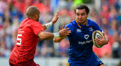 19 May 2018; James Lowe of Leinster in action against Simon Zebo of Munster during the Guinness PRO14 semi-final match between Leinster and Munster at the RDS Arena in Dublin. Photo by Brendan Moran/Sportsfile
