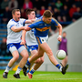 19 May 2018; Liam Casey of Tipperary in action against James McGrath, left, and Conor Murray of Waterford during the Munster GAA Football Senior Championship Quarter-Final match between Tipperary and Waterford at Semple Stadium in Thurles, Co Tipperary. Photo by Daire Brennan/Sportsfile