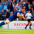 Leinster's Jack Conan scores his side's first-half try during the Pro 14 semi-final win over Munster at the RDS yesterday. Photo by Stephen McCarthy/Sportsfile