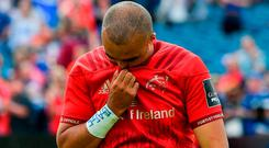 Munster's Simon Zebo leaves the pitch. Photo by Brendan Moran/Sportsfile