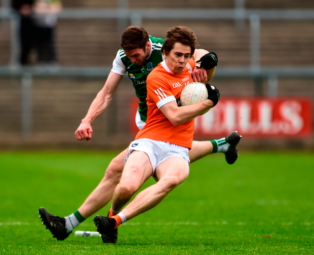 Andrew Murnin of Armagh in action against Eoin Donnelly of Fermanagh Photo: Sportsfile