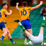 Kieran Malone of Clare, right, celebrates scoring his side's first goal past Limerick goalkeeper Donal O'Sullivan with team-mate Keelan Sexton. Photo: Piaras Ó Mídheach/Sportsfile