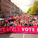 Pro-life demonstrators from Stand up for Life campaign in Merrion Square, Dublin Photo: Niall Carson/PA Wire