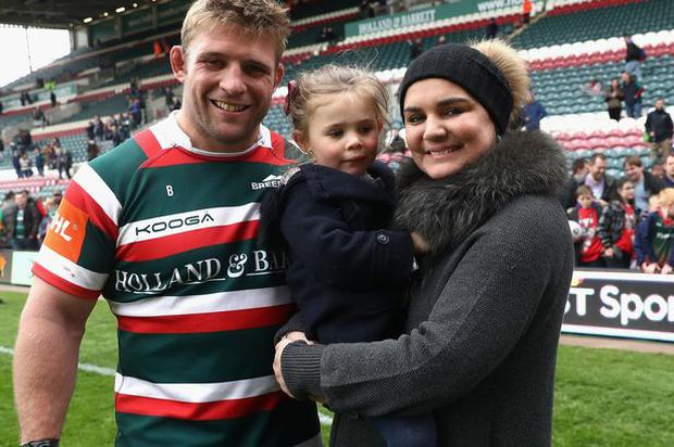 Leicester Tigers captain Tom Youngs pictured in April with his wife Tiffany and their daughter Maisie. (Image: Getty)