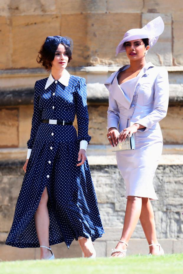 Abigail Spencer and Priyanka Chopra arrive at the wedding of Prince Harry to Ms Meghan Markle at St George's Chapel, Windsor Castle in Windsor, Britain, May 19, 2018. Chris Jackson/Pool via REUTERS