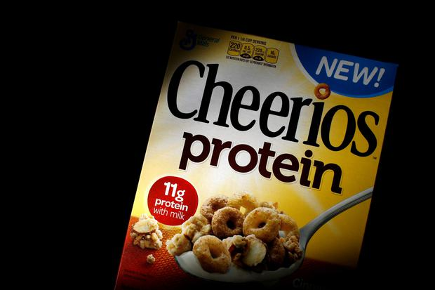 A box of Cheerios cereal, fortified with soy and pea protein, is seen in this photo illustration in Wilmette, Illinois. REUTERS/Jim Young/File Photo