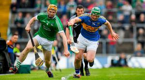Richie English of Limerick in action against Jason Forde of Tipperary during the Munster GAA Hurling Senior Championship Round 1 match between Limerick and Tipperary at the Gaelic Grounds in Limerick. Photo by Ray McManus/Sportsfile