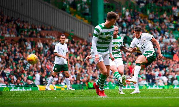 Callum O'Dowda of Republic of Ireland XI shoots to score his side's second goal during Scott Brown's testimonial match between Celtic and Republic of Ireland XI at Celtic Park in Glasgow, Scotland. Photo by Stephen McCarthy/Sportsfile